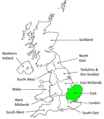 Map showing the East of England