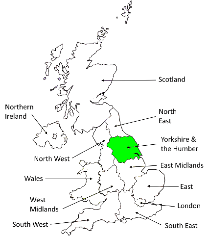 Map showing the Yorkshire & Humber region