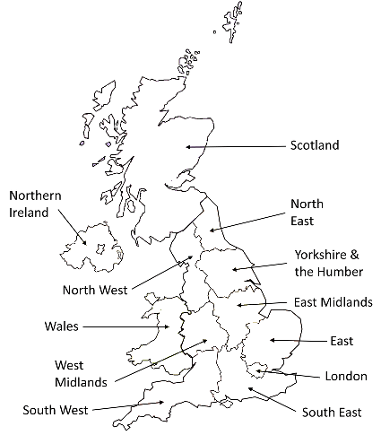 Map showing the nations and regions of the UK